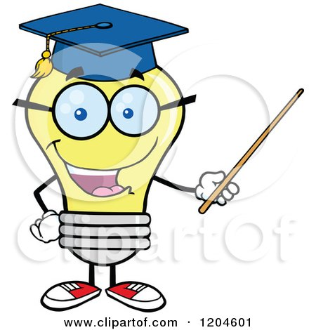 Cartoon of a Happy Yellow Light Bulb Mascot Professor Using a Pointer Stick - Royalty Free Vector Clipart by Hit Toon