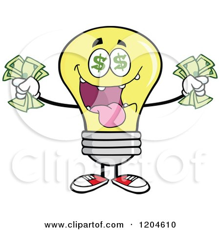 Cartoon of a Rich Yellow Light Bulb Mascot Holding Cash - Royalty Free Vector Clipart by Hit Toon