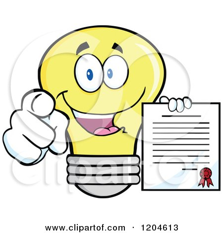 Cartoon of a Happy Yellow Light Bulb Mascot Pointing and Holding a Contract 2 - Royalty Free Vector Clipart by Hit Toon