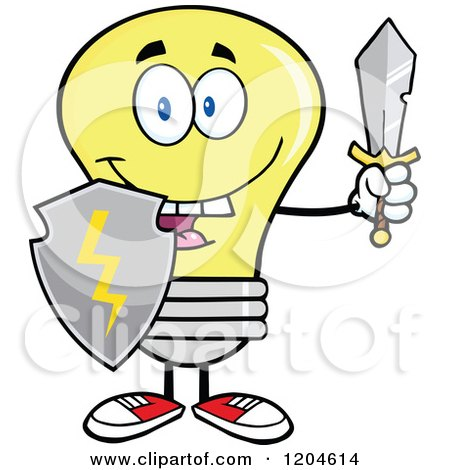 Cartoon of a Happy Yellow Light Bulb Mascot with a Sword and Shield - Royalty Free Vector Clipart by Hit Toon