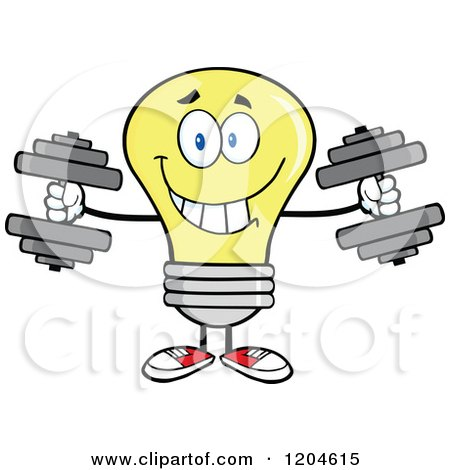 Cartoon of a Happy Yellow Light Bulb Mascot Lifting Dumbbell Weights - Royalty Free Vector Clipart by Hit Toon