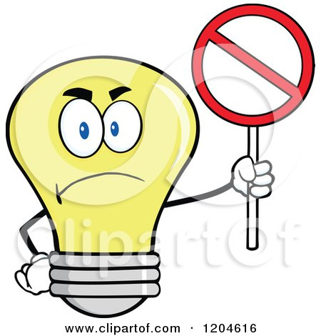 Cartoon of a Happy Yellow Light Bulb Mascot Holding a Prohibited Sign - Royalty Free Vector Clipart by Hit Toon
