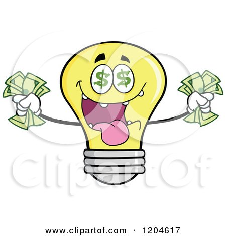 Cartoon of a Rich Yellow Light Bulb Mascot Holding Cash 2 - Royalty Free Vector Clipart by Hit Toon