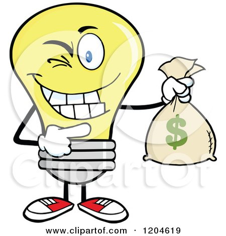 Cartoon of a Winking Yellow Light Bulb Mascot Holding a Money Savings Bag - Royalty Free Vector Clipart by Hit Toon