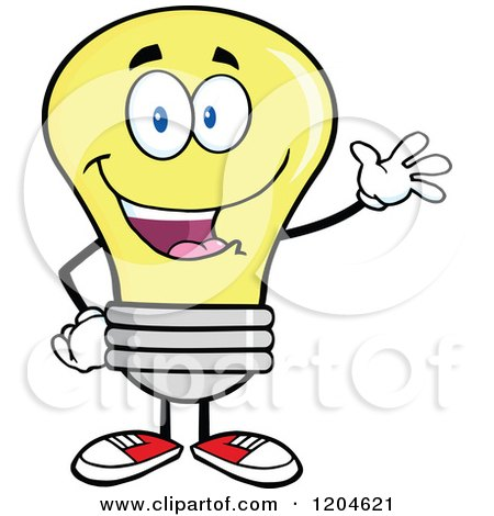 Cartoon of a Happy Waving Yellow Light Bulb Mascot - Royalty Free Vector Clipart by Hit Toon