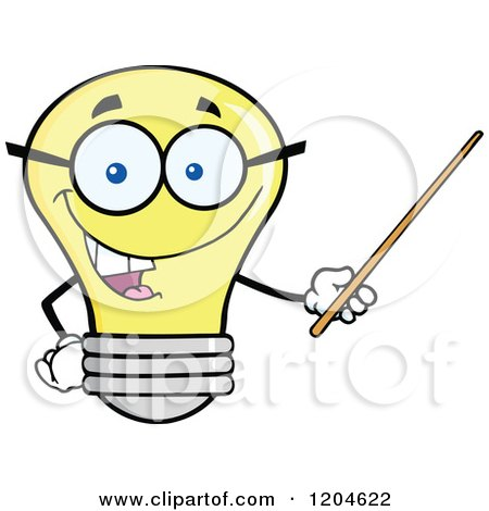 Cartoon of a Happy Yellow Light Bulb Mascot Teacher Using a Pointer Stick 2 - Royalty Free Vector Clipart by Hit Toon