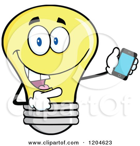 Cartoon of a Happy Yellow Light Bulb Mascot Pointing to a Tablet Computer 2 - Royalty Free Vector Clipart by Hit Toon