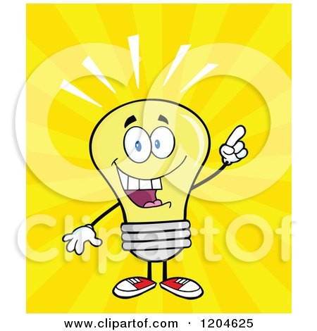 Cartoon of a Smart Yellow Light Bulb Mascot with an Idea over Rays - Royalty Free Vector Clipart by Hit Toon