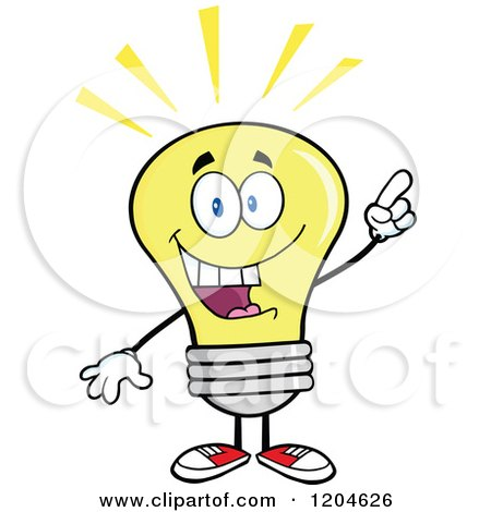 Cartoon of a Smart Yellow Light Bulb Mascot with an Idea - Royalty Free Vector Clipart by Hit Toon