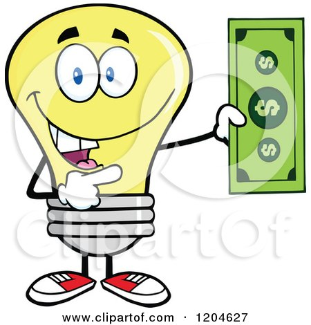 Cartoon of a Happy Yellow Light Bulb Mascot Holding a Dollar Bill - Royalty Free Vector Clipart by Hit Toon