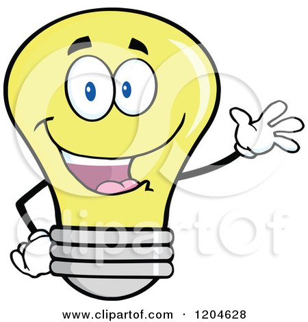 Cartoon of a Happy Yellow Light Bulb Mascot Waving - Royalty Free Vector Clipart by Hit Toon