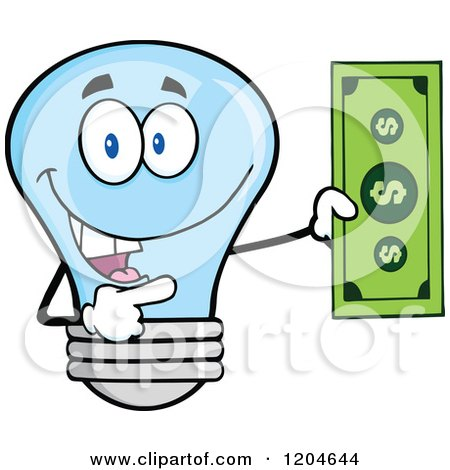 Cartoon of a Happy Blue Light Bulb Mascot Holding a Dollar Bill - Royalty Free Vector Clipart by Hit Toon