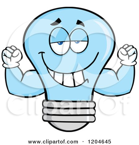 Cartoon of a Happy Blue Light Bulb Mascot Flexing Muscles - Royalty Free Vector Clipart by Hit Toon