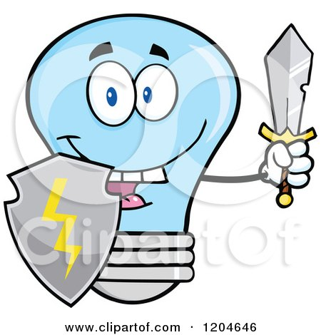 Cartoon of a Happy Blue Light Bulb Mascot Guard with a Shield and Sword - Royalty Free Vector Clipart by Hit Toon