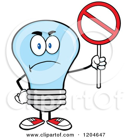 Cartoon of a Mad Blue Light Bulb Mascot Holding a Forbidden Sign - Royalty Free Vector Clipart by Hit Toon