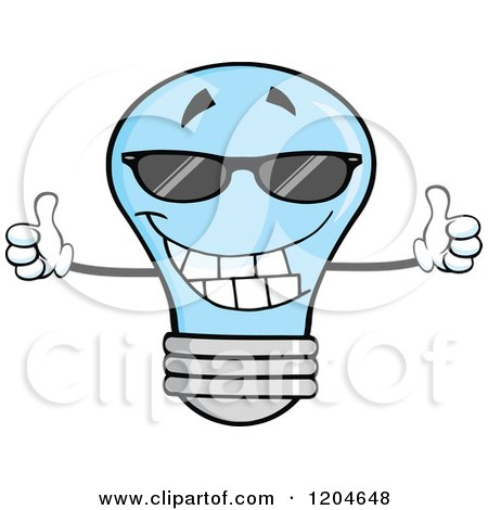 Cartoon of a Happy Blue Light Bulb Mascot Holding Two Thumbs up and Wearing Shades - Royalty Free Vector Clipart by Hit Toon