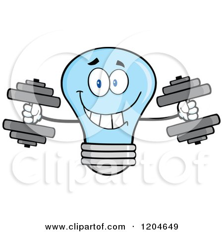 Cartoon of a Happy Blue Light Bulb Mascot Weightlifting Dumbbells - Royalty Free Vector Clipart by Hit Toon
