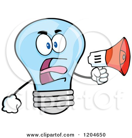 Cartoon of a Blue Light Bulb Mascot Announcing with a Megaphone 2 - Royalty Free Vector Clipart by Hit Toon