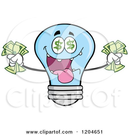 Cartoon of a Rich Blue Light Bulb Mascot Holding Cash 2 - Royalty Free Vector Clipart by Hit Toon