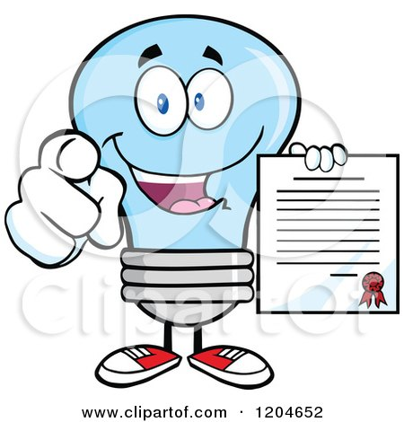 Cartoon of a Happy Blue Light Bulb Mascot Pointing and Holding a Contract - Royalty Free Vector Clipart by Hit Toon