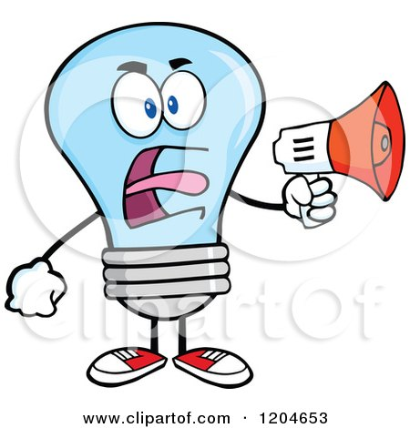 Cartoon of a Blue Light Bulb Mascot Announcing with a Megaphone - Royalty Free Vector Clipart by Hit Toon