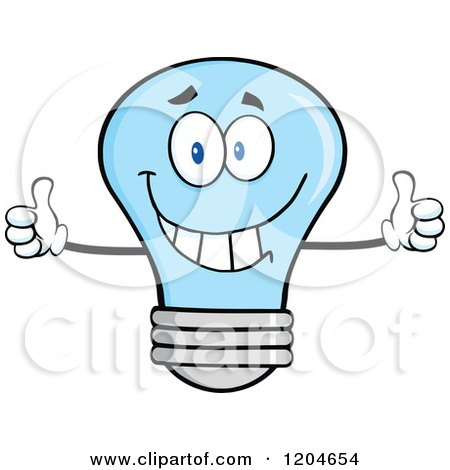 Cartoon of a Happy Blue Light Bulb Mascot Holding Two Thumbs up - Royalty Free Vector Clipart by Hit Toon