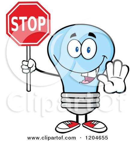 Cartoon of a Happy Blue Light Bulb Mascot Holding a Stop Sign - Royalty Free Vector Clipart by Hit Toon