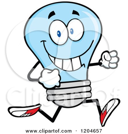 Cartoon of a Happy Blue Light Bulb Mascot Running - Royalty Free Vector Clipart by Hit Toon
