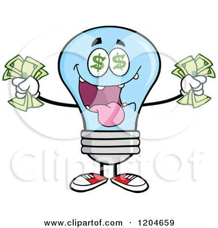 Cartoon of a Rich Blue Light Bulb Mascot Holding Cash - Royalty Free Vector Clipart by Hit Toon