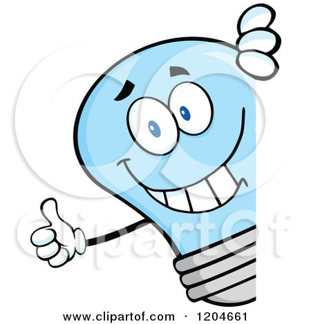 Cartoon of a Happy Blue Light Bulb Mascot Holding a Thumb up Around a Sign - Royalty Free Vector Clipart by Hit Toon
