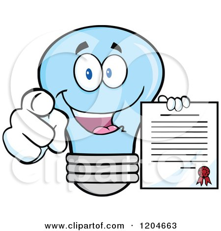 Cartoon of a Happy Blue Light Bulb Mascot Pointing and Holding a Contract 2 - Royalty Free Vector Clipart by Hit Toon