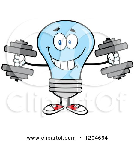 Cartoon of a Happy Blue Light Bulb Mascot Lifting Dumbbell Weights - Royalty Free Vector Clipart by Hit Toon