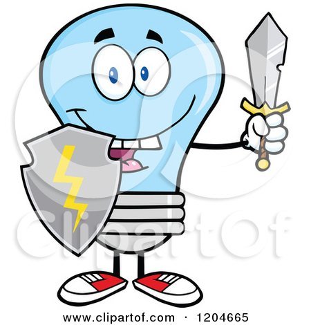 Cartoon of a Happy Blue Light Bulb Mascot with a Sword and Shield - Royalty Free Vector Clipart by Hit Toon