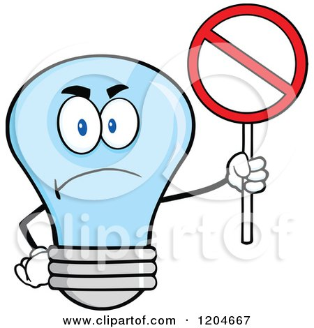 Cartoon of a Happy Blue Light Bulb Mascot Holding a Prohibited Sign - Royalty Free Vector Clipart by Hit Toon