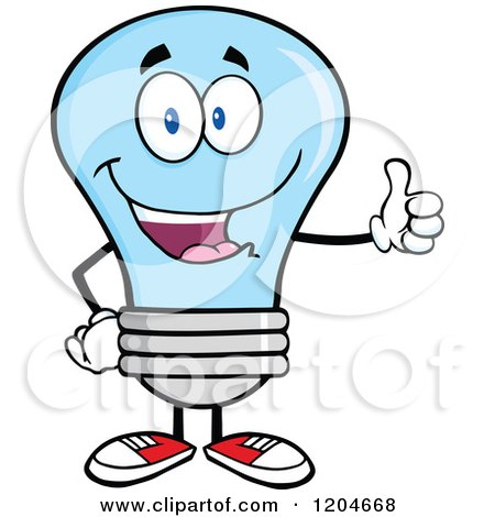 Cartoon of a Happy Blue Light Bulb Mascot Holding a Thumb up - Royalty Free Vector Clipart by Hit Toon