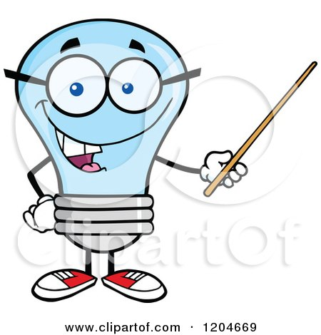 Cartoon of a Happy Blue Light Bulb Mascot Teacher Using a Pointer Stick 2 - Royalty Free Vector Clipart by Hit Toon