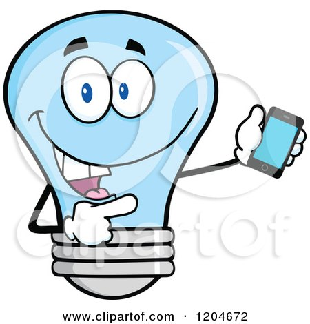 Cartoon of a Happy Blue Light Bulb Mascot Pointing to a Tablet Computer 2 - Royalty Free Vector Clipart by Hit Toon