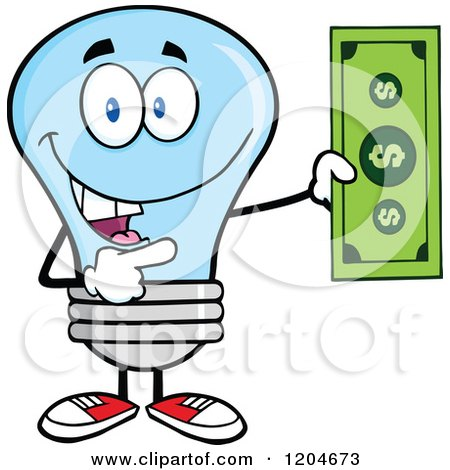 Cartoon of a Happy Blue Light Bulb Mascot Holding a Dollar Bill 2 - Royalty Free Vector Clipart by Hit Toon