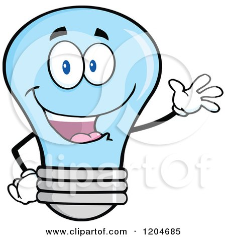 Cartoon of a Happy Blue Light Bulb Mascot Waving - Royalty Free Vector Clipart by Hit Toon
