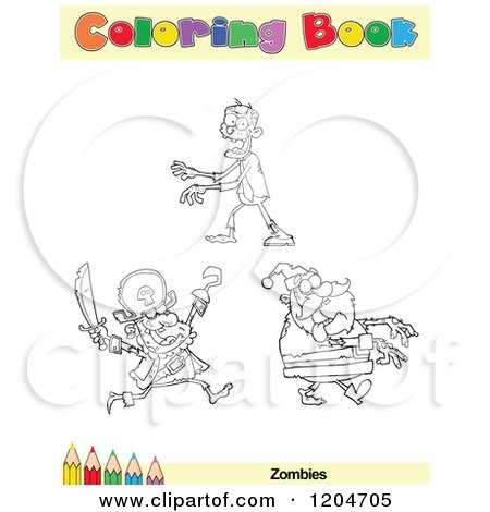 Cartoon of a Coloring Book Page with Zombie Outlines Text and a Colored Pencil Border - Royalty Free Vector Clipart by Hit Toon