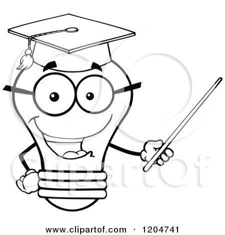 Cartoon of a Happy Black and White Light Bulb Mascot ...