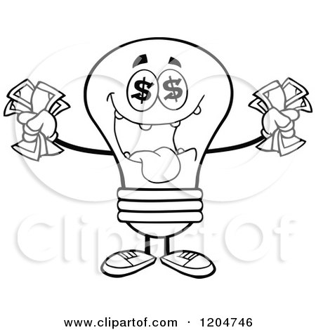Cartoon of a Rich Black and White Light Bulb Mascot Holding Cash - Royalty Free Vector Clipart by Hit Toon