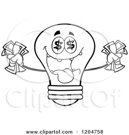 Cartoon of a Rich Black and White Light Bulb Mascot Holding Cash 2 - Royalty Free Vector Clipart by Hit Toon