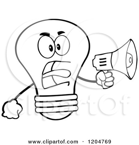 Cartoon of a Black and White Light Bulb Mascot Announcing with a Megaphone 2 - Royalty Free Vector Clipart by Hit Toon