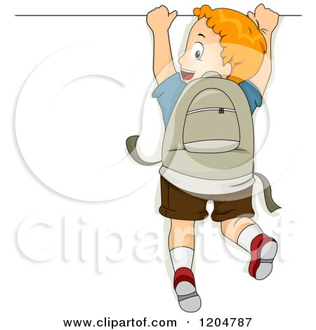 Cartoon of a Red Haired School Boy Hanging on a Sign - Royalty Free Vector Clipart by BNP Design Studio