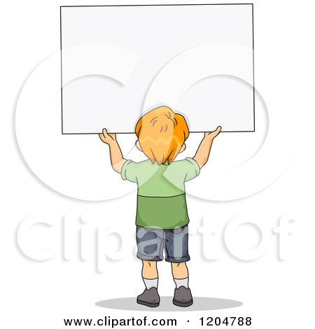 Cartoon of a Rear View of a Red Haired School Boy Holding up a Sign Board - Royalty Free Vector Clipart by BNP Design Studio