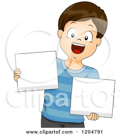 Cartoon of a Happy Brunette School Boy Holding Blank Sign Boards - Royalty Free Vector Clipart by BNP Design Studio