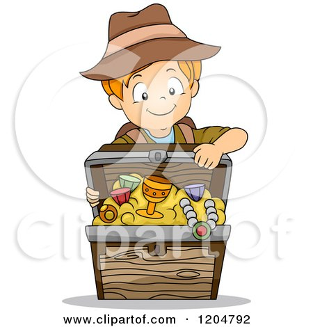 Cartoon of a Red Haired White Explorer Boy with a Treasure Chest - Royalty Free Vector Clipart by BNP Design Studio