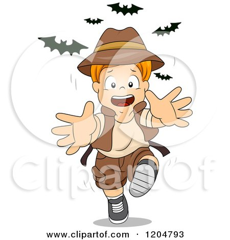 Cartoon of a Red Haired White Explorer Boy Running from Bats - Royalty Free Vector Clipart by BNP Design Studio