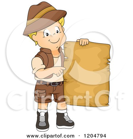 Cartoon of a Happy Blond White Explorer Boy Holding a Blank Treasure Map - Royalty Free Vector Clipart by BNP Design Studio